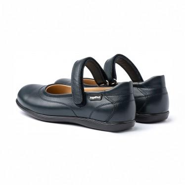 Merceditas Colegiales Niña Piel Napa Velcro 460 Marino, de Angelitos