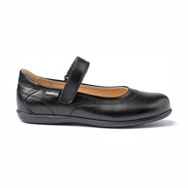Merceditas Colegiales Niña Piel Napa Velcro 460 Negro, de Angelitos