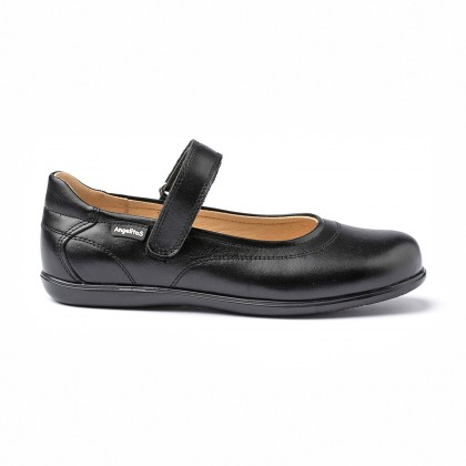 Girls Nappa Leather Mary Jane Shoes Velcro 1512 Black, by AngelitoS