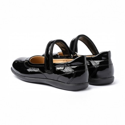 Girls Patent Leather Mary Jane Shoes Velcro 459 Black, by AngelitoS