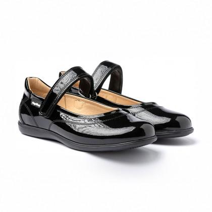 Merceditas Colegiales Niña Piel Charol Velcro 459 Negro, de Angelitos