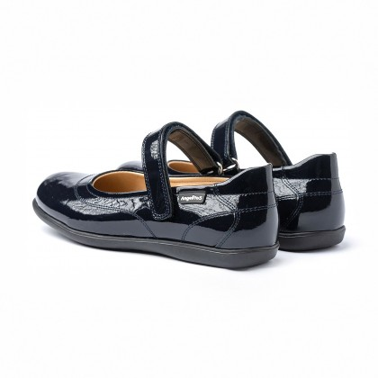 Girls Patent Leather Mary Jane Shoes Velcro 459 Navy, by AngelitoS