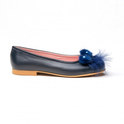 Girls Leather Ballerinas Feathers and Beads 999 Navy, by AngelitoS