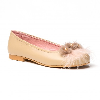 Girls Leather Ballerinas Feathers and Beads 999 Camel, by AngelitoS