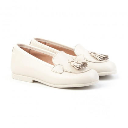 Childrens Girl Leather School Loafers Tassels Rounded Toe 391 Beige, by AngelitoS