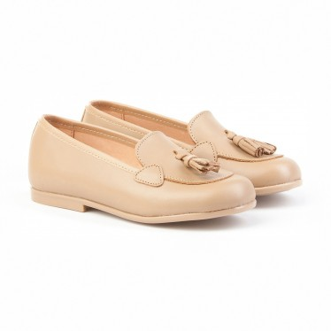Childrens Girl Leather School Loafers Tassels Rounded Toe 391 Camel, by AngelitoS