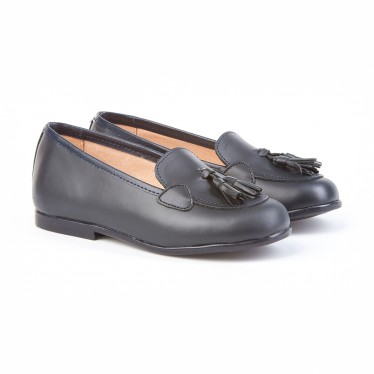 Childrens Girl Leather School Loafers Tassels Rounded Toe 391 Navy, by AngelitoS