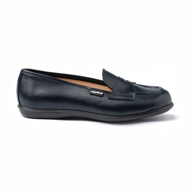 Girls Nappa Leather School Loafers Mask 467 Navy, by AngelitoS