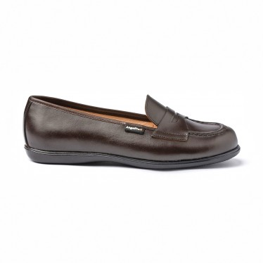 Girls Nappa Leather School Loafers Mask 467 Chocolate, by AngelitoS