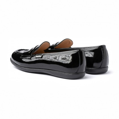 Girls Patent Leather School Loafers Mask 468 Black, by AngelitoS