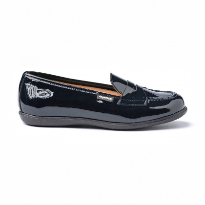 Girls Patent Leather School Loafers Mask 468 Navy, by AngelitoS