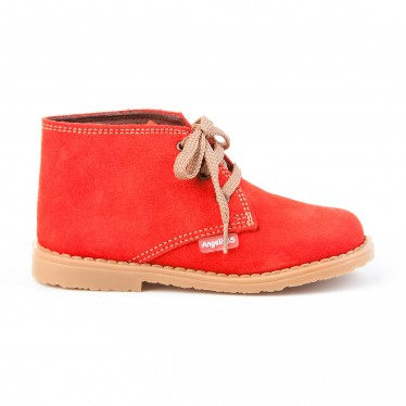 Girls Boys Split Leather Safari Booties Laces 403 Red, by AngelitoS