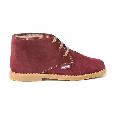 Girls Boys Split Leather Safari Booties Laces 403 Burgundy, by AngelitoS