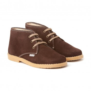 Girls Boys Split Leather Safari Booties Laces 403 Chocolate, by AngelitoS
