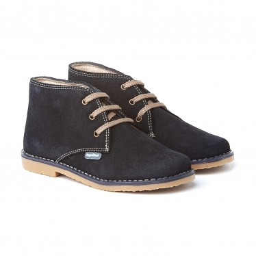 Girls Boys Split Leather Safari Booties Laces 403 Navy, by AngelitoS