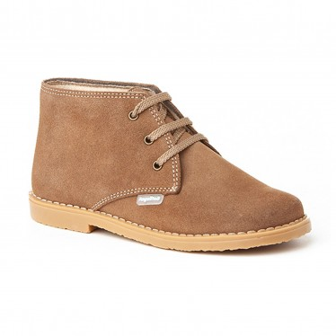 Girls Boys Split Leather Safari Booties Laces 403 Taupe, by AngelitoS