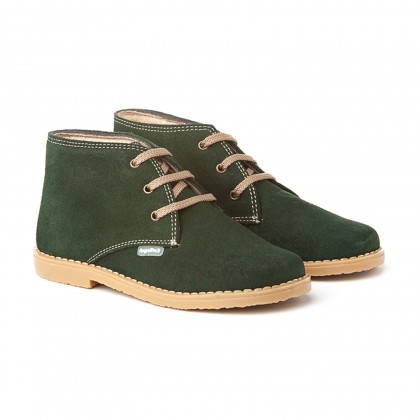 Girls Boys Split Leather Safari Booties Laces 403 Green, by AngelitoS