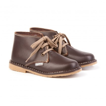 Girls Boys Nappa Leather Safari Booties Laces 407 Chocolate, by AngelitoS
