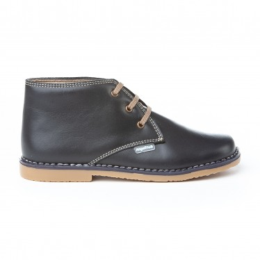 Girls Boys Nappa Leather Safari Booties Laces 407 Navy, by AngelitoS