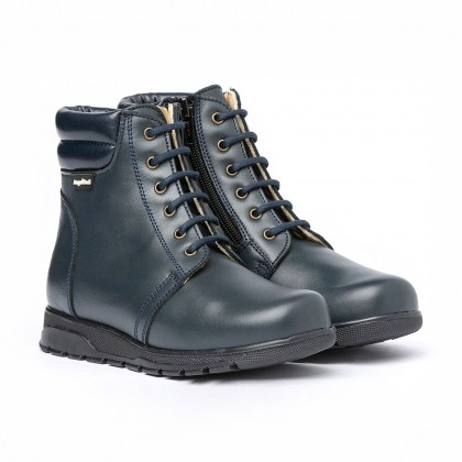 Girls Boys Nappa Leather Booties Laces Zipper 480 Navy, by AngelitoS