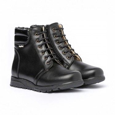 Girls Boys Nappa Leather Booties Laces Zipper 480 Black, by AngelitoS