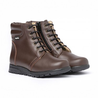 Girls Boys Nappa Leather Booties Laces Zipper 480 Chocolate, by AngelitoS