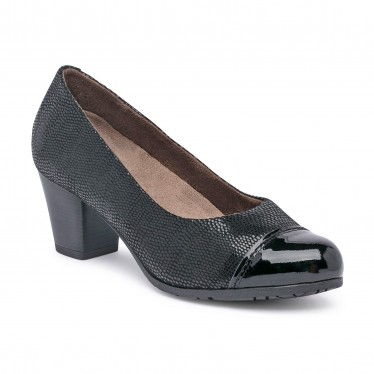 Womens Comfort Leather Pumps Patent Toe Removable Insole 93 Black, by TuPié