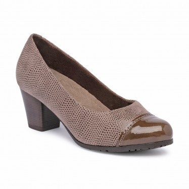 Womens Comfort Leather Pumps Patent Toe Removable Insole 93 Taupe, by TuPié