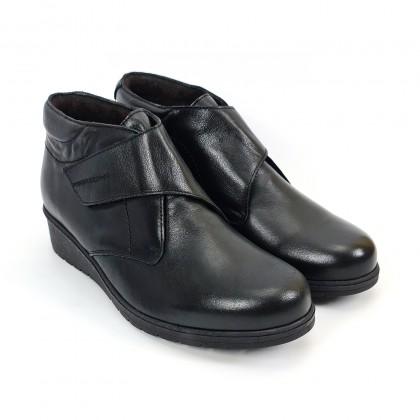 Botines Cómodos Mujer Piel Cuña Velcro Plantilla Extraíble 70244 Negro, de Tupié