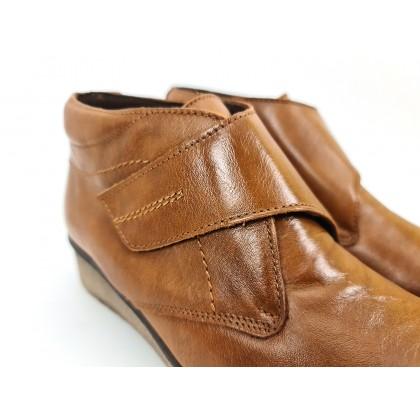 Botines Cómodos Mujer Piel Cuña Velcro Plantilla Extraíble 70244 Cuero, de Tupié