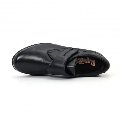 Woman Leather Low Wedged Comfort Booties Velcro Removable Insole 70243 Black, by TuPié