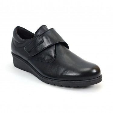 Woman Leather Low Wedged Comfort Shoes Velcro Removable Insole 70243 Black, by TuPié