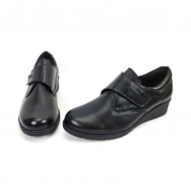 Zapatos Cómodos Mujer Piel Cuña Velcro Plantilla Extraíble 70243 Negro, de Tupié