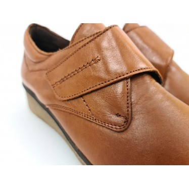 Woman Leather Low Wedged Comfort Booties Velcro Removable Insole 70243 Leather, by TuPié