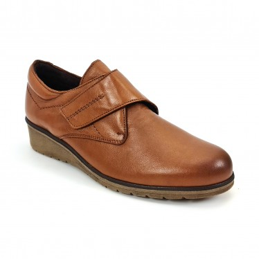 Woman Leather Low Wedged Comfort Shoes Velcro Removable Insole 70243 Leather, by TuPié