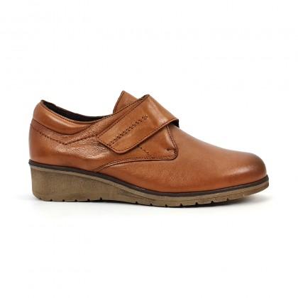 Zapatos Cómodos Mujer Piel Cuña Velcro Plantilla Extraíble 70243 Cuero, de Tupié