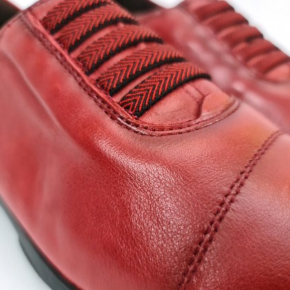 Woman Leather Comfort Shoes Ellastic Laces Removable Insole 70001 Red, by TuPié