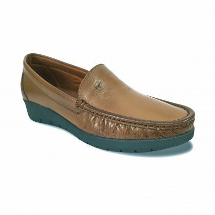 Women Soft Leather Wedged Loafers 1701 Brown, by Casual