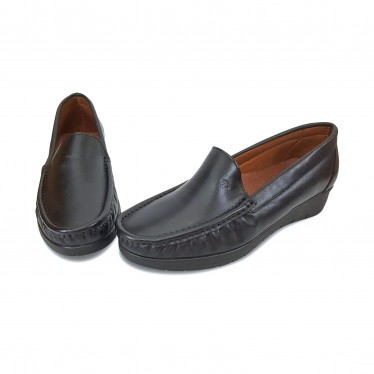 Women Soft Leather Wedged Loafers 1701 Black, by Casual