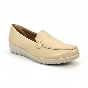 Women Soft Leather Comfort Loafers Removable Insole 12701 Beige, by Amelie
