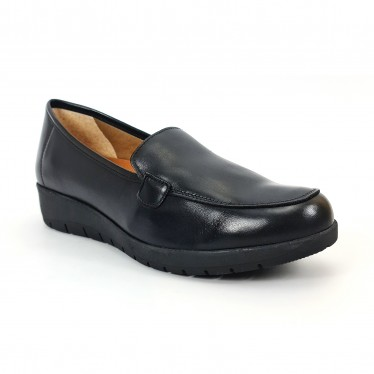 Women Soft Leather Comfort Loafers Removable Insole 12701 Black, by Amelie
