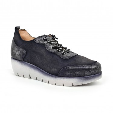 Women's Leather Wedged Sneakers Removable Insole ZERO19 Black, by Desireé