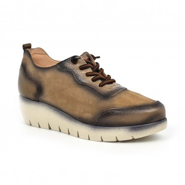 Women's Leather Wedged Sneakers Removable Insole ZERO19 Taupe, by Desireé