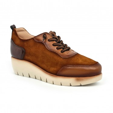 Women's Leather Wedged Sneakers Removable Insole ZERO19 Tobacco, by Desireé