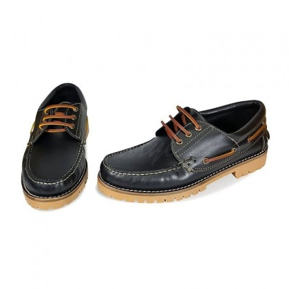 MEN LEATHER BOAT SHOES SEV200CA BLACK, BY CASUAL PAIR