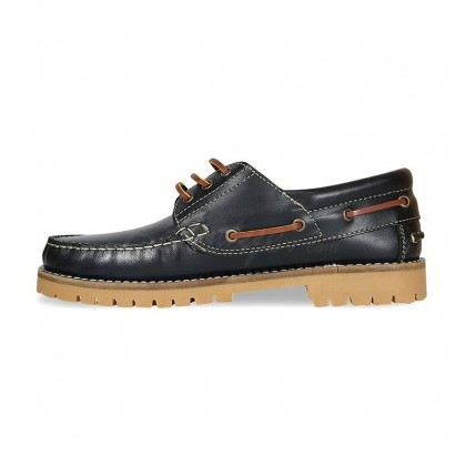 MEN LEATHER BOAT SHOES SEV200CA BLACK, BY CASUAL INNER SIDE