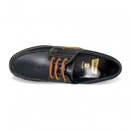 MEN LEATHER BOAT SHOES SEV200CA BLACK, BY CASUAL TOP