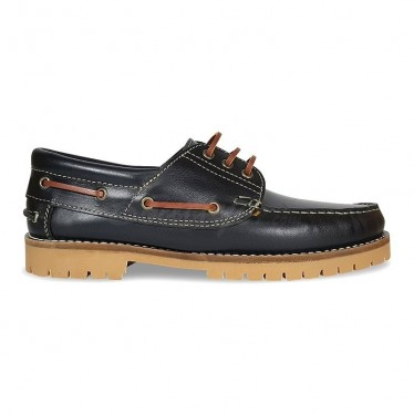 MEN LEATHER BOAT SHOES SEV200CA BLACK, BY CASUAL SOLE