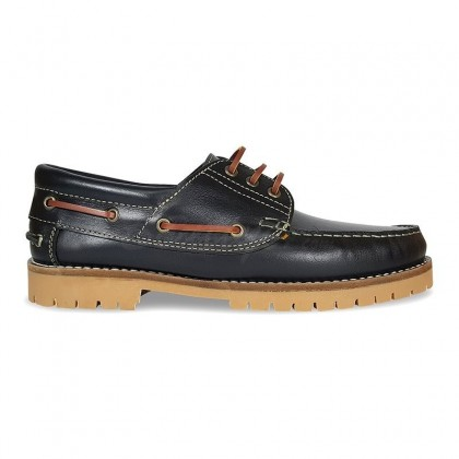 MEN LEATHER BOAT SHOES SEV200CA BLACK, BY CASUAL SIDE