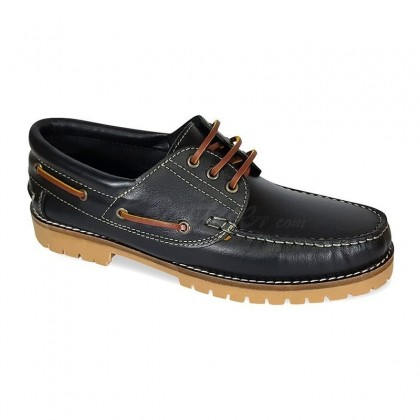 MEN LEATHER BOAT SHOES SEV200CA BLACK, BY CASUAL